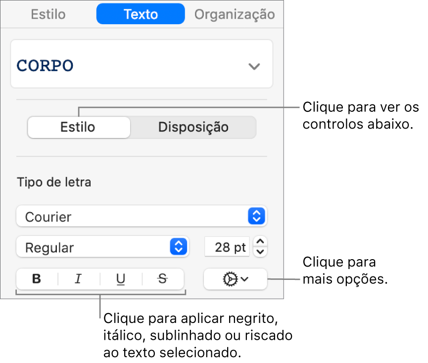 Os controlos Estilos na barra lateral de formatação com chamadas para os botões Negrito, Itálico, Sublinhado e Riscado.
