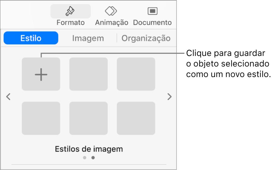 """O separador Estilo da barra lateral Formato com um estilo de caixa de texto, um botão """"Criar estilo"""" à direita dele e quatro marcadores de posição de estilo vazios."""