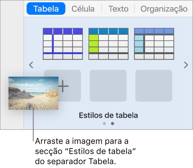 Arrastar uma imagem para os estilos de tabela para criar um novo estilo.