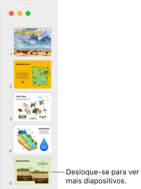 O navegador de diapositivos a apresentar cinco diapositivos verticalmente e sequencialmente, com a opção de se deslocar para baixo para ver mais diapositivos.