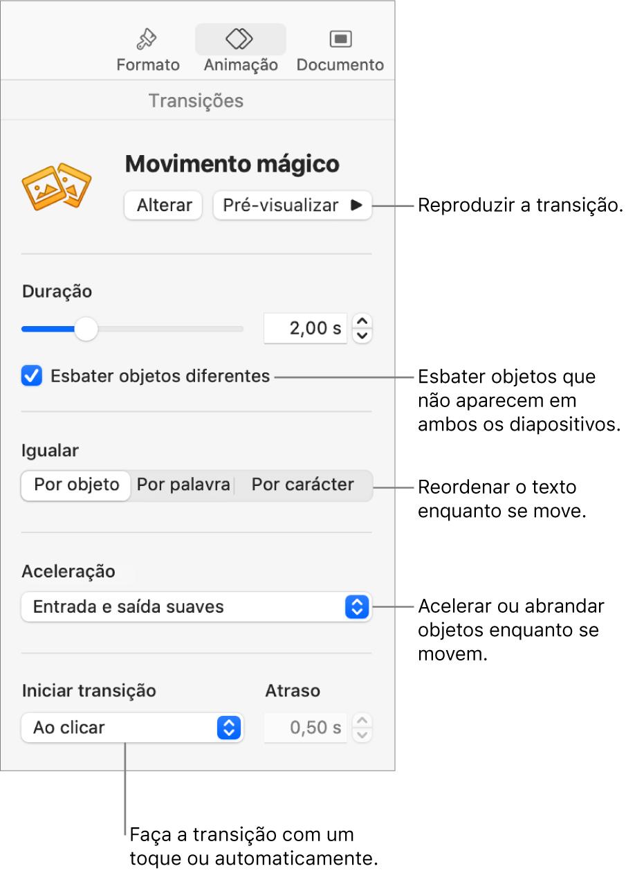 """Controlos da transição """"Movimento mágico"""" na secção Transições da barra lateral Animação."""