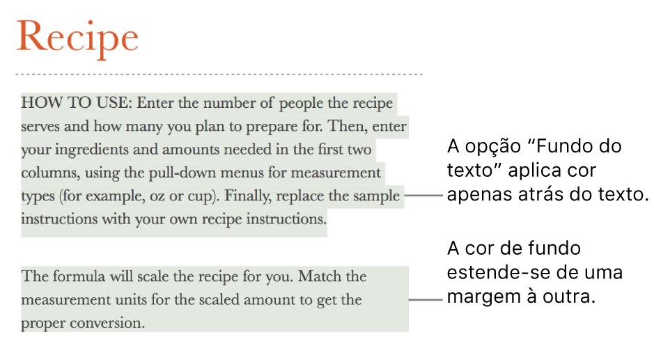 Um parágrafo com a cor atrás apenas do texto e um segundo parágrafo com a cor atrás do mesmo que abrange de margem a margem num bloco.