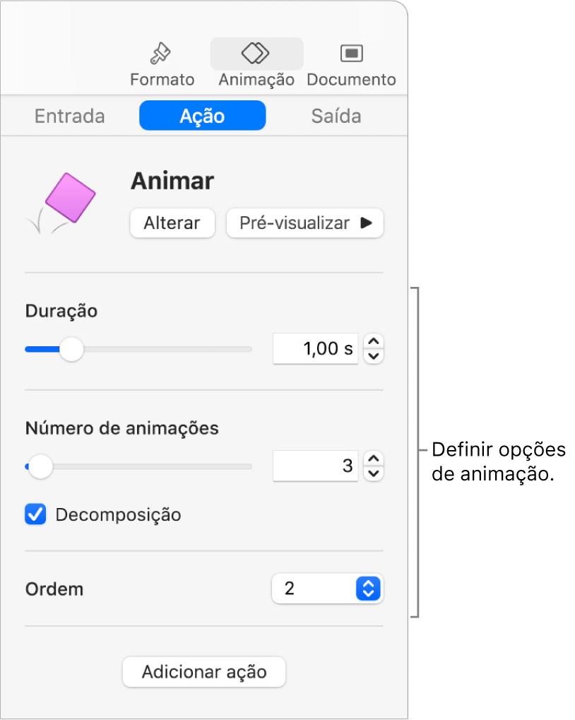 Controlos de ação na secção Animar da barra lateral.