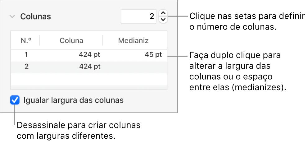 Os controlos na secção colunas para alterar o número de colunas e a largura de cada coluna.