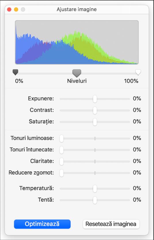 Fereastra Ajustare imagine cu glisoare pentru configurarea expunerii, contrastului, saturației, tonurilor luminoase și întunecate, clarității, reducerii zgomotului, temperaturii și nuanței.