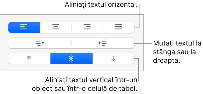 Secțiunea Aliniere a barei laterale afișând butoane pentru alinierea textului pe orizontală, deplasarea textului la stânga sau la dreapta și alinierea textului pe verticală.