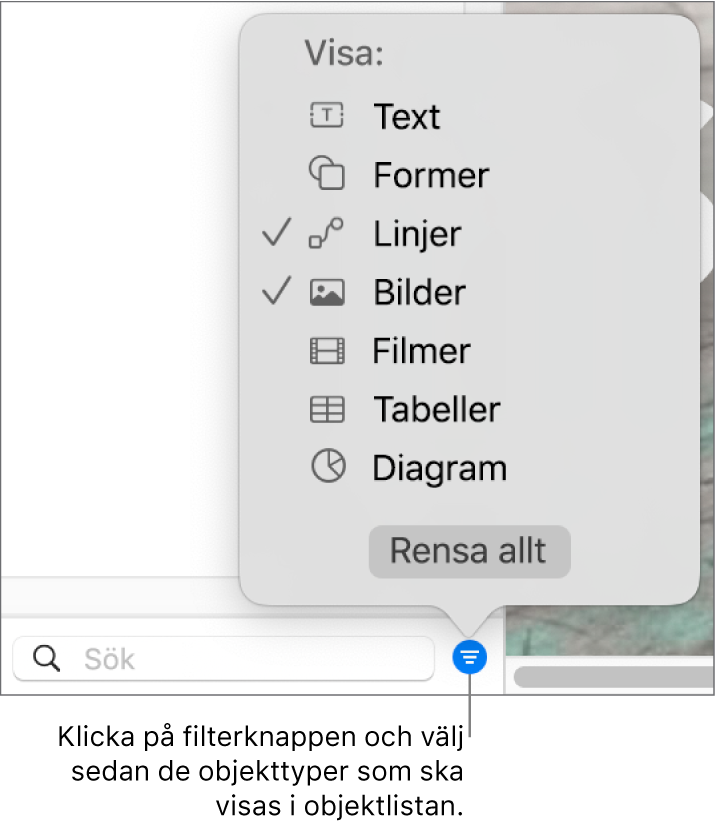 Popupmenyn Filter med en lista över de olika objekttyper som listan kan innehålla (text, former, linjer, bilder, filmer, tabeller och diagram).