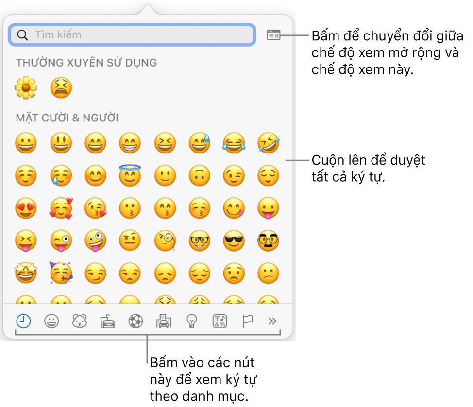 Cửa sổ bật lên Ký tự đặc biệt đang hiển thị các biểu tượng cảm xúc, nút cho các loại biểu tượng khác nhau ở dưới cùng và chỉ thị cho nút để hiển thị cửa sổ Ký tự đầy đủ.