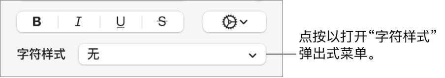 """用于更改文本样式和颜色的控制下方的""""字符样式""""弹出式菜单。"""