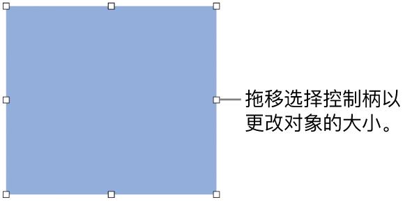 其边框上具有白色方形可用于更改对象大小的对象。