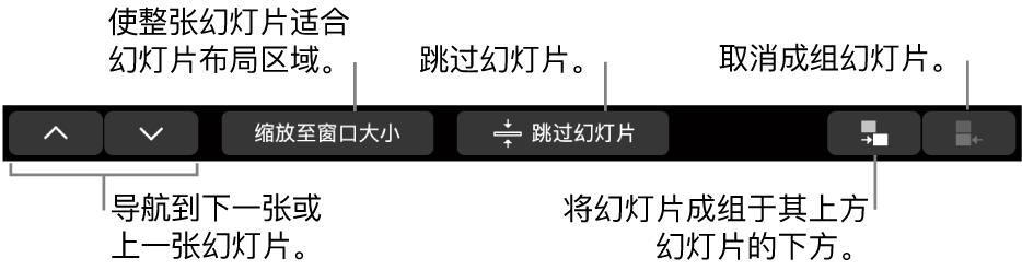 MacBook Pro 触控栏,包含的控制可用于导航到下一张或上一张幻灯片、使幻灯片适合幻灯片布局区域、跳过幻灯片和将幻灯片成组或取消成组。