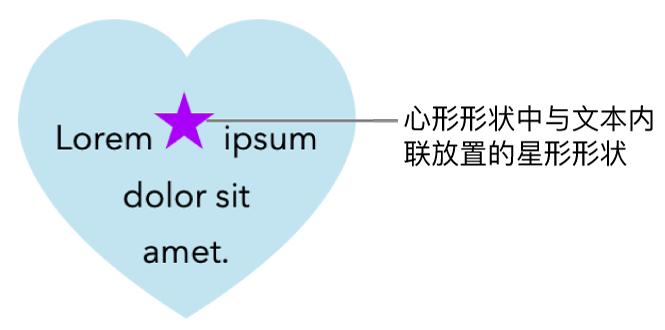 一个星形,与心形内的文本内联显示。