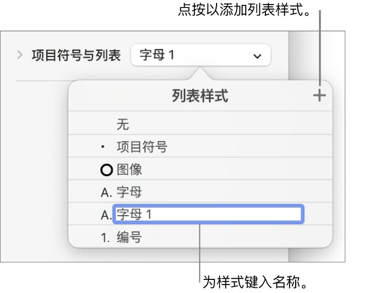 """""""列表样式""""弹出式菜单,其中""""添加""""按钮位于右上角,占位符样式名称的文本被选中。"""