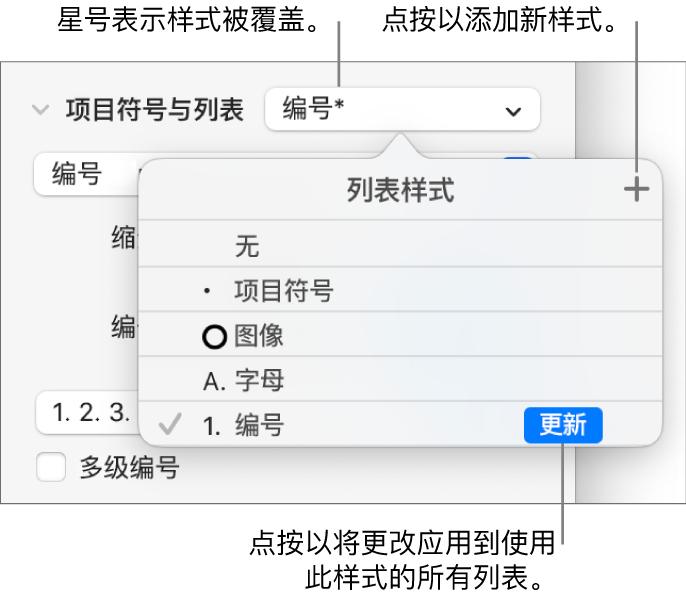 """""""列表样式""""弹出式菜单,带有表示覆盖的星号、""""新建样式""""按钮的标注以及用于管理样式的选项的子菜单。"""