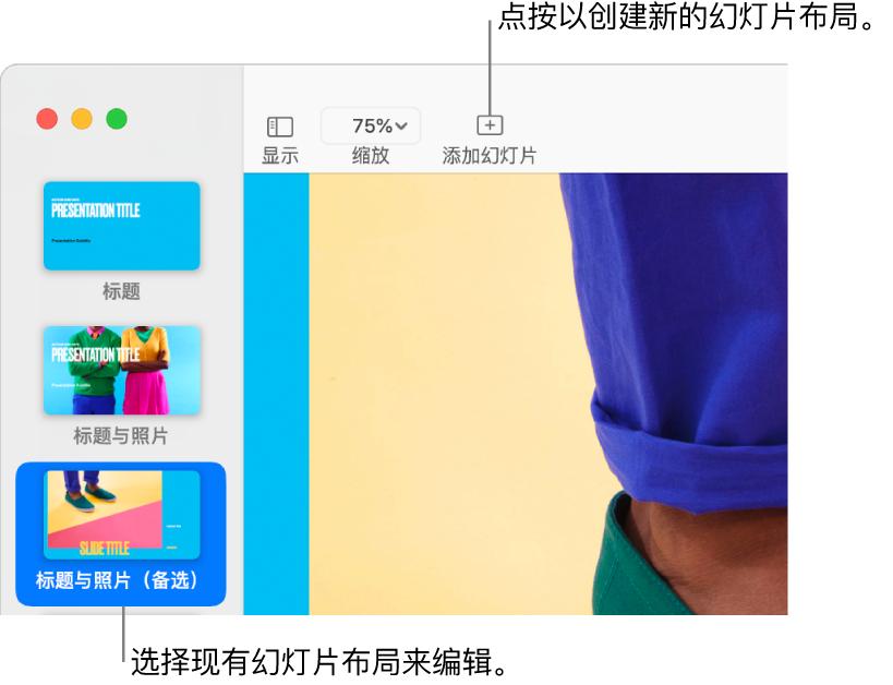 """幻灯片布局区域显示一个幻灯片布局,其上方是工具栏中的""""添加幻灯片""""按钮。"""