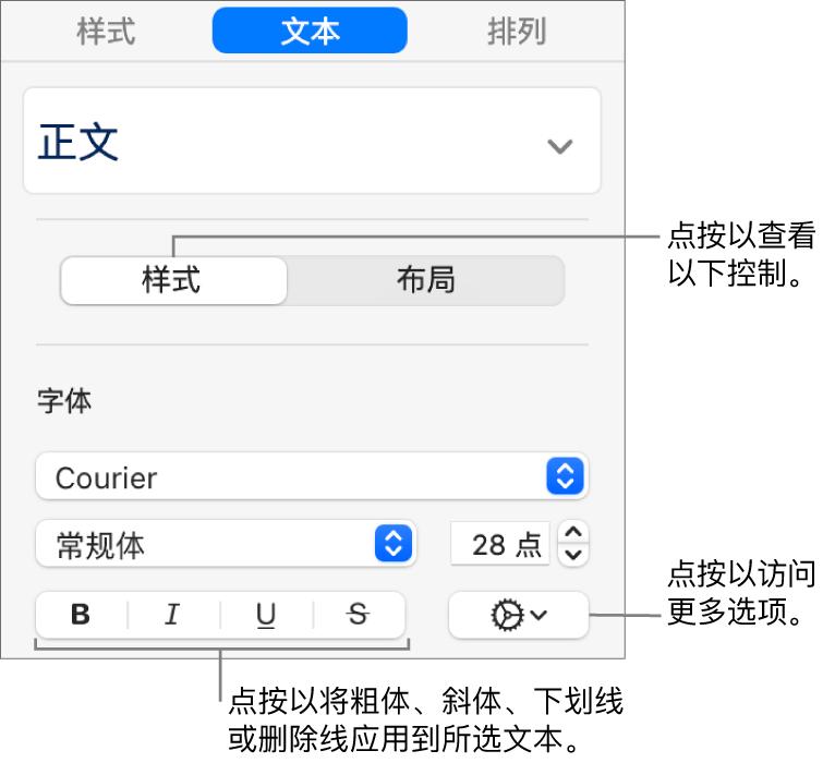 """边栏中的""""样式""""控制,其中标注指向""""粗体""""、""""斜体""""、""""下划线""""和""""删除线""""按钮。"""