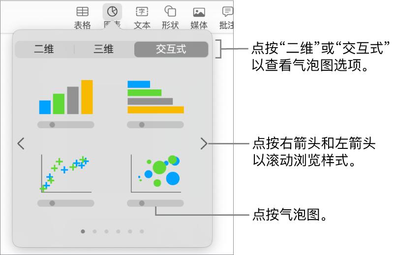 """""""添加图表""""菜单显示交互式图表,包括气泡图。"""