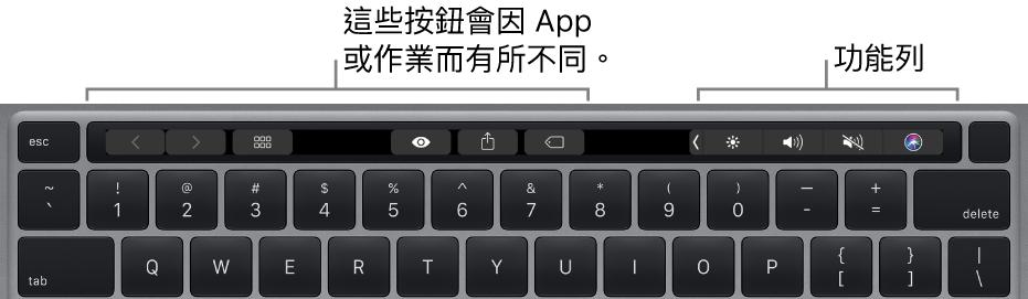 鍵盤的數字鍵上方帶有觸控列。用於修改文字的按鈕位於左側中央。右側的功能列有亮度、音量和 Siri 的系統控制項目。