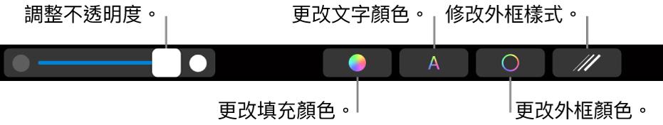 MacBook Pro 觸控列中帶有簡報控制項目,用於調整形狀的不透明度、更改填充顏色、更改文字顏色、更改外框顏色和修改外框樣式。