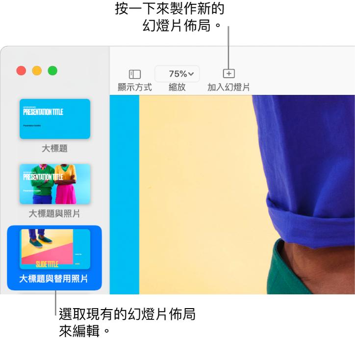 幻燈片佈局區域中顯示幻燈片佈局,上方的工具列帶有「加入幻燈片」按鈕。