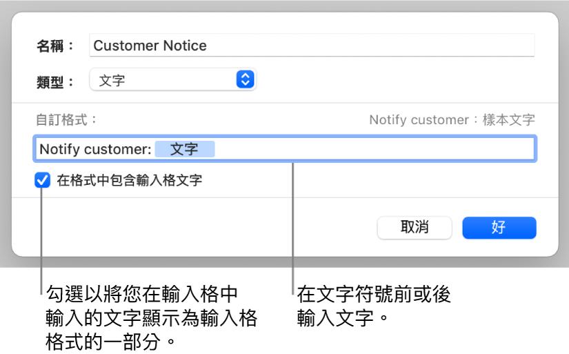 自訂文字輸入格格式。