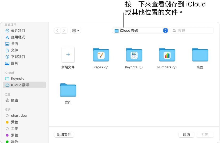 「打開」對話框的左側開啟側邊欄,最上方的彈出式選單中選取了「iCloud 雲碟」。Keynote、Numbers 和 Pages 的檔案夾和「新增文件」按鈕一起顯示在對話框中。