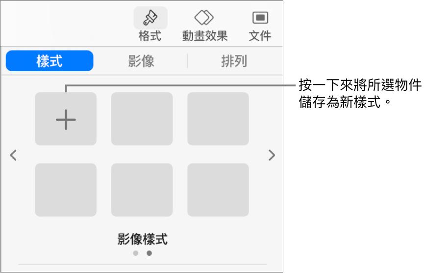 「格式」側邊欄的「樣式」標籤頁帶有一個文字框樣式,右側是「製作樣式」按鈕,以及四個空白的樣式暫存區。
