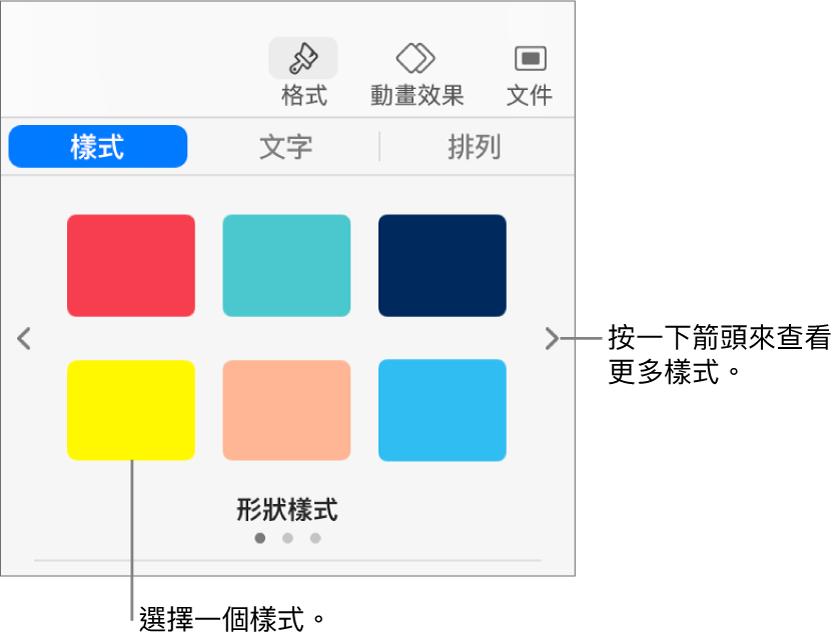 「格式」側邊欄的「樣式」標籤頁,帶有六種物件樣式,左右兩側有導覽箭頭。