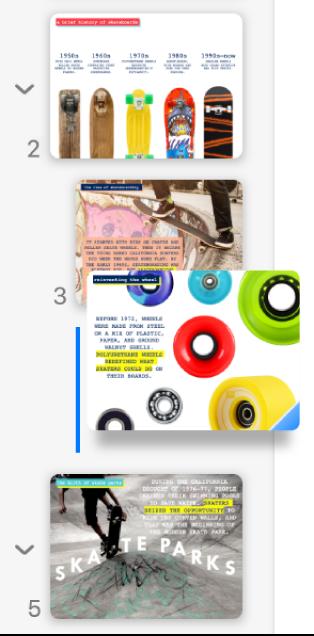 在左側排列顯示縮行幻燈片的幻燈片導覽器。