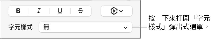 用於更改文字樣式和顏色的控制項目下方顯示「字元樣式」彈出式選單。
