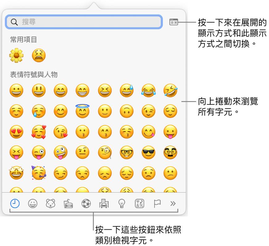 顯示表情符號的「特殊字元」彈出式選單,底部有各種符號的按鈕,說明文字指向顯示完整「字元」視窗的按鈕。