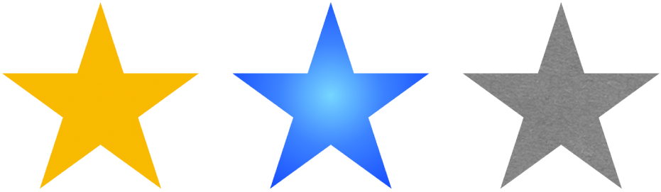 ثلاثة أشكال نجوم بتعبئات مختلفة. أحدها بالأصفر الخالص وآخر يتضمن تدرج اللون الأزرق والأخير يتضمن تعبئة صور.