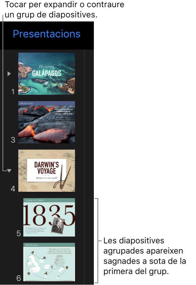 Navegador de diapositives on es mostren les diapositives sagnades.