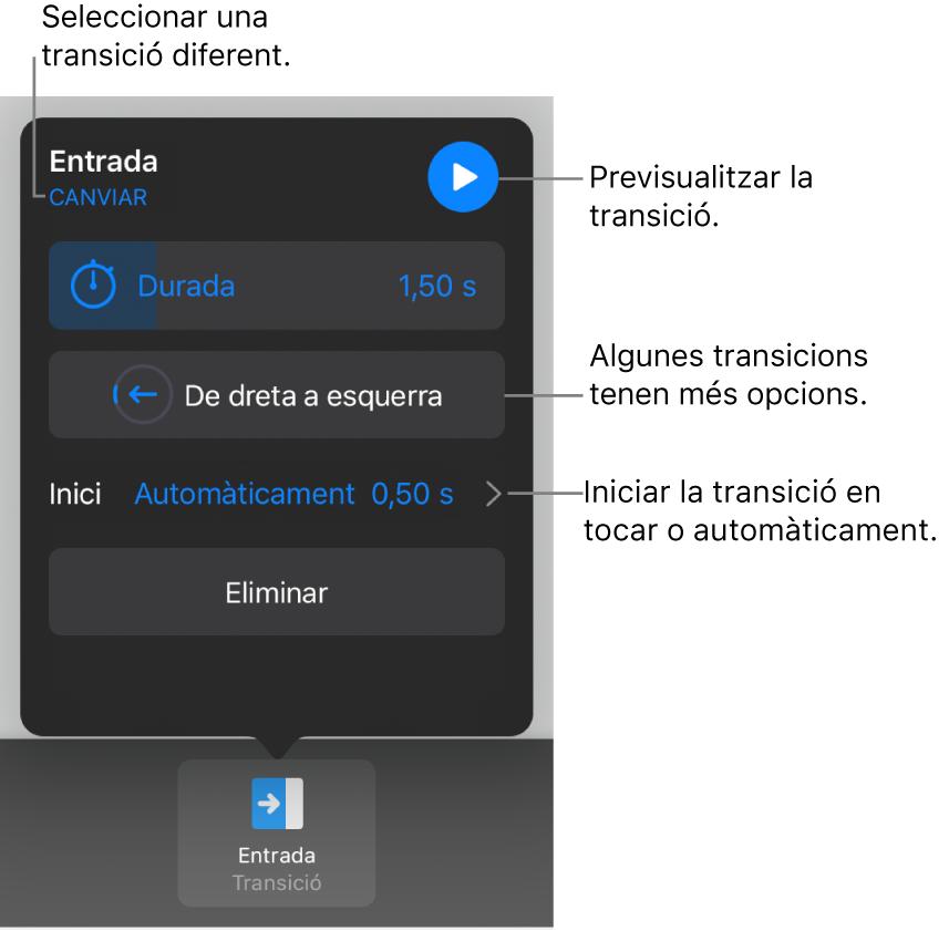Els controls del tauler Opcions per modificar una transició.