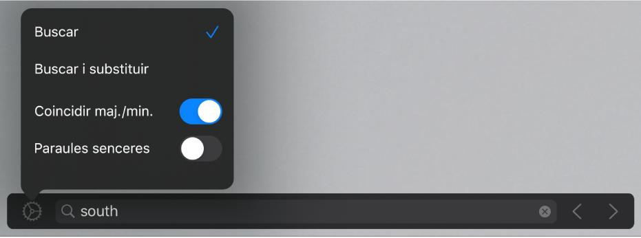 """La finestra d'opcions de cerca, amb les opcions Buscar, """"Buscar i substituir"""", """"Coincidir maj./min."""" i """"Paraules senceres""""."""