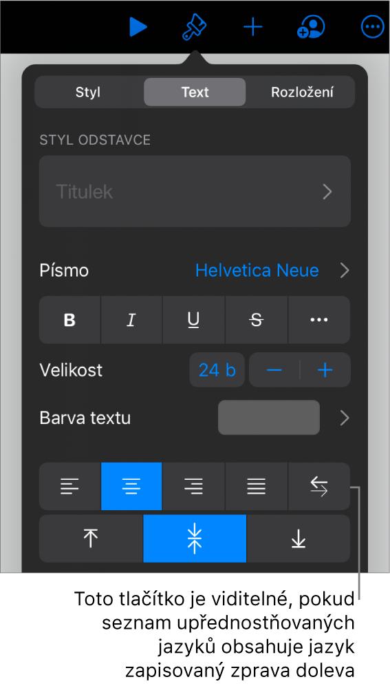 Ovládací prvky pro text vnabídce Formát spopiskem pro tlačítko Zleva doprava.