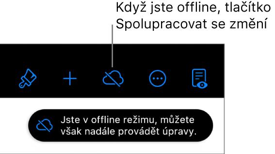 """Tlačítka horního okraje obrazovky; tlačítko Spolupracovat se změnilo na symbol oblaku se šikmým přeškrtnutím. Na obrazovce se zobrazí upozornění """"Jste voffline režimu, můžete však nadále provádět úpravy."""""""