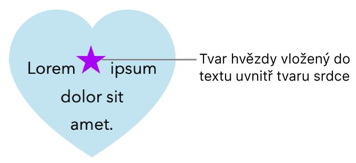 Hvězdicový tvar vložený do textu uvnitř srdcovitého tvaru