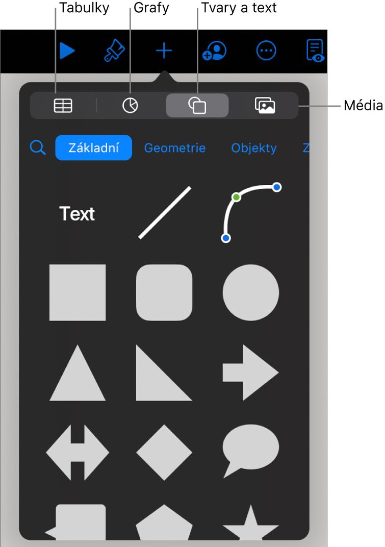 Ovládací prvky pro přidání objektu. Vhorní části se nacházejí tlačítka sloužící kvýběru tabulek, grafů, tvarů (včetně čar atextových rámečků) amédií.
