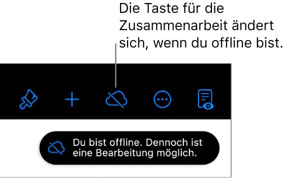 """Die Tasten oben auf dem Bildschirm, darunter die Taste """"Zusammenarbeiten"""", die als mit einer diagonalen Linie durchgestrichenen Wolke dargestellt wird. Ein Hinweis auf dem Bildschirm besagt, dass du offline bist, aber weiterhin arbeiten kannst."""