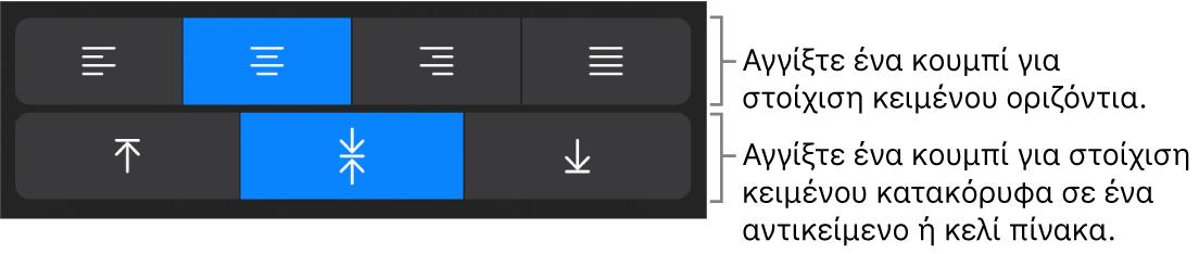 Κουμπιά οριζόντιας ή κατακόρυφης στοίχισης κειμένου.