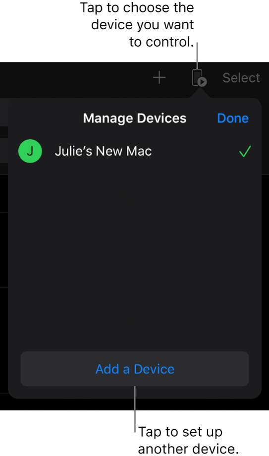 The Manage Devices pop over, showing the Add a Device link.