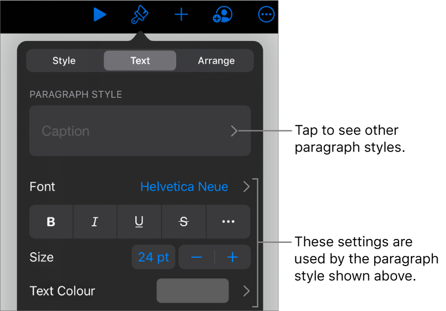 The Format menu showing text controls for setting paragraph and character styles, font, size and colour.