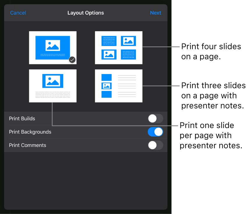 Print options.
