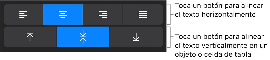 Botones de alineación horizontal y vertical para el texto.