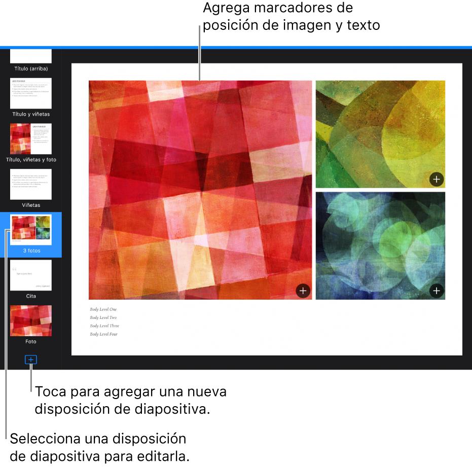 """Una disposición de diapositiva en el lienzo de diapositivas con el botón """"Agregar disposición de diapositiva"""" en la parte inferior del navegador de diapositivas."""