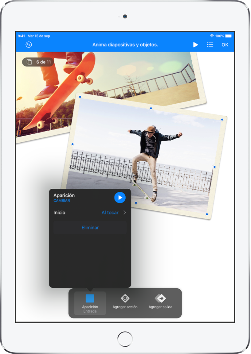 """Controles de animación para el objeto que está seleccionado en la diapositiva. En la parte inferior de la pantalla se encuentra el botón para el efecto Entrada y los botones """"Agregar acción"""" y """"Agregar salida"""". El botón Entrada muestra un menú con opciones para editar el efecto Aparecer."""