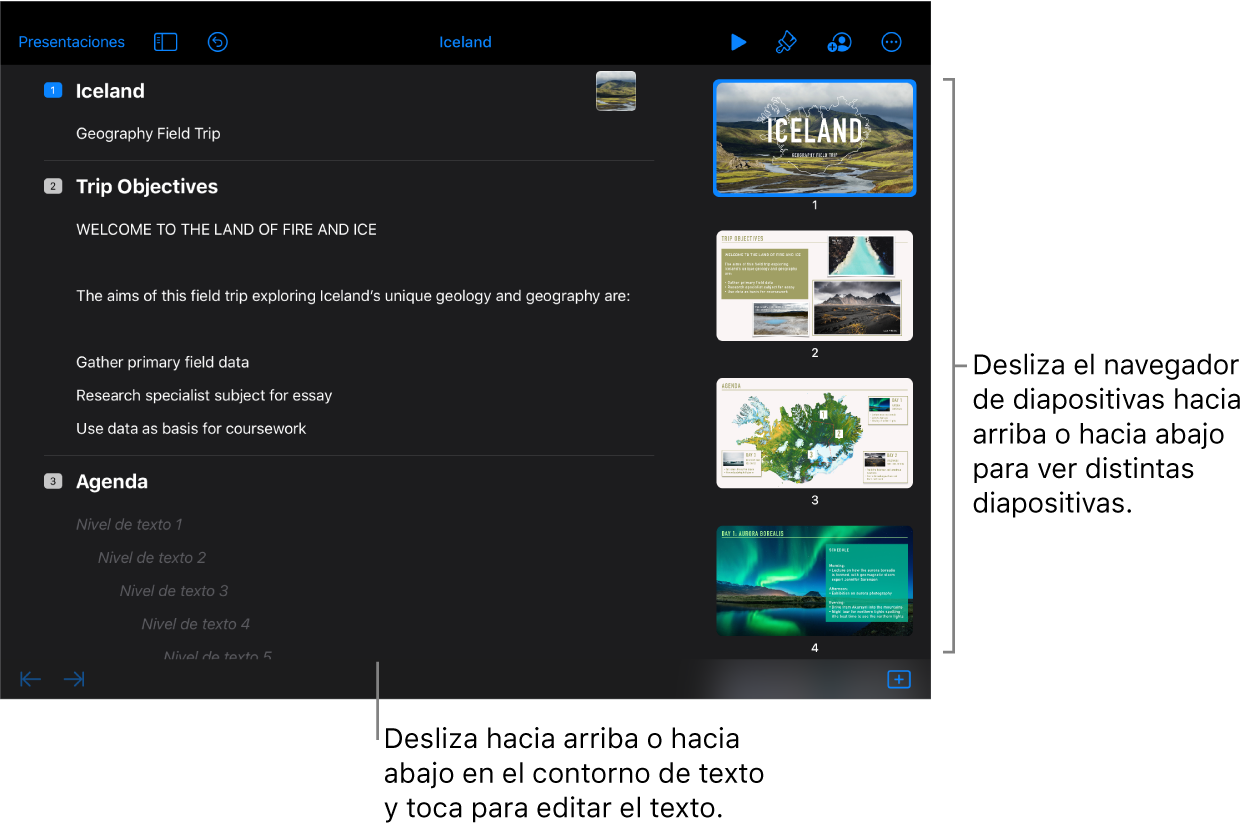 La vista de esquema con el esquema de texto en el lado izquierdo de la pantalla y el navegador de diapositivas vertical en el lado derecho.