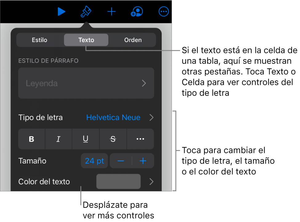 Controles de texto en el menú Formato para configurar los estilos de párrafo y carácter, tipo de letra, tamaño y color.