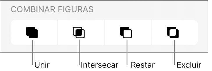 Botones Unir, Cruzar, Sustraer y Excluir debajo de Combinar figuras.